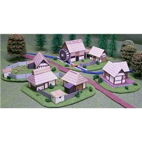 Papercraft oriental hamlet