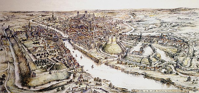 Sketch of the old city of York, England