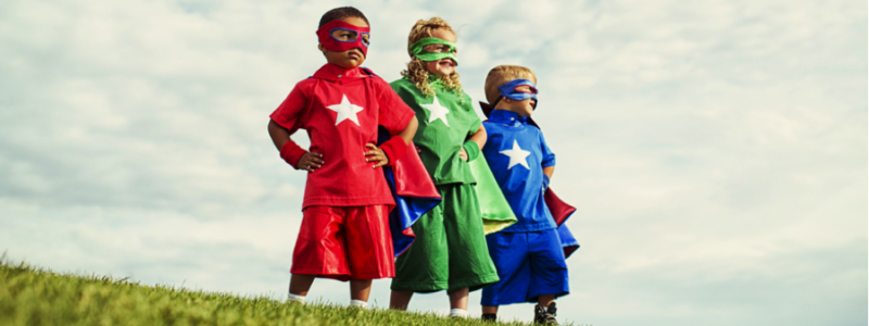 Youngsters dressed as super heroes