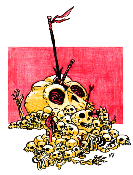 Skull Pile llustration by Alex Damaceno @gnarledmonster ""