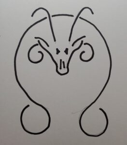 circle with stylized rat head