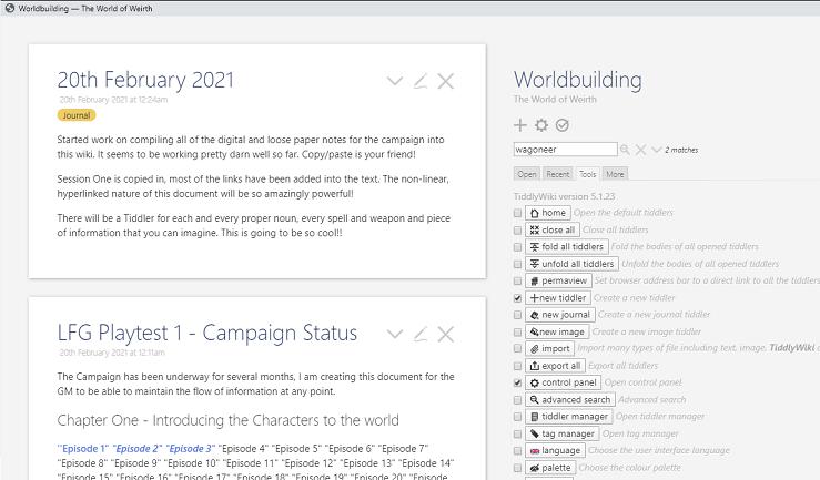 tiddlywiki desktop screenshot
