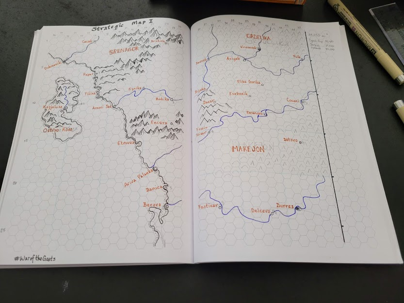 Solo Wargaming Guide map and notebook