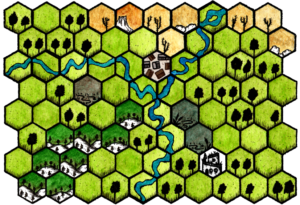 Hex map of Weirth campaign with Hexkit